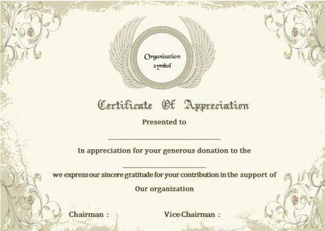 Donation Certificate Of Appreciation Template Donation - donation certificate template