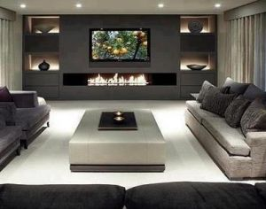 Dramatic Contemporary Living Room With Charcoal Feature Wall Television And Long Low Fireplace 300x236