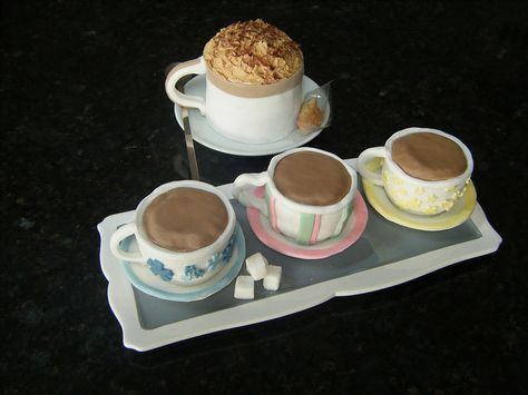 tea cups and coffee cakes all made out of cake!!