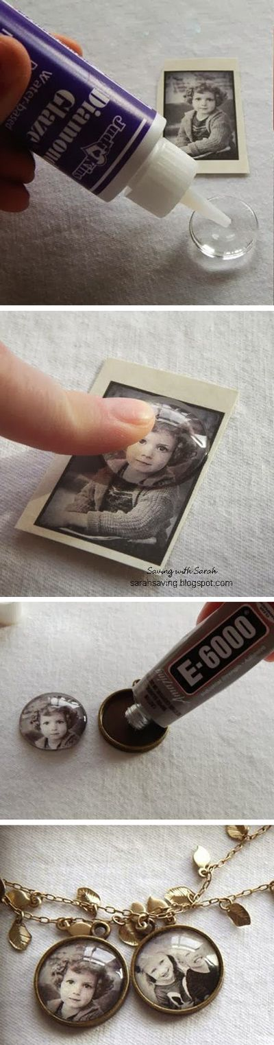 DIY Heritage Photo Pendant ~ Keep memories close to your heart with old family photos on a pretty pendant.