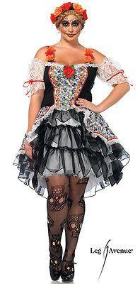 Sexy Leg Avenue SUGAR SKULL Senorita Halloween Costume Dress Plus Size 3X/4X