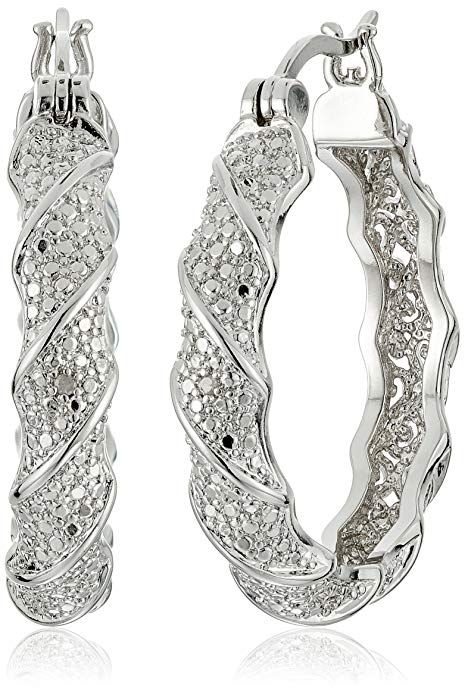 Fine Silver Plated Bronze Diamond Accent Twisted Hoop Earrings Heart Pendant Diamond Womens Jewelry Necklace Diamond Accent