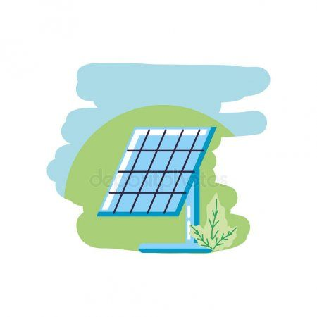 Solar Panel Energy With Leafs Nature Stock Vector Ad Energy Panel Solar Leafs Ad