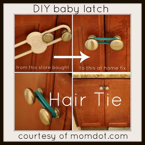 Kids Safety easy fix for a baby latch. Hey that was my idea ;) - DIY at Home Baby Lock, quick way to make an at home baby latch and keep baby out of the cabinets Baby Safety, Child Safety, Baby Outfits, Baby Proof House, Kids And Parenting, Parenting Hacks, Baby Lock, Toddler Proofing, Baby Proofing Ideas