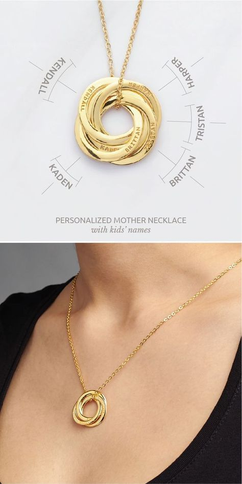 Mother's Necklace with Kids' Names - 4 Rings in 2019