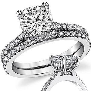 Cathedral Pave Basket Cushion Moissanite Wedding Set Wed012 Moissanite Wedding Set Wedding Sets Cushion Moissanite