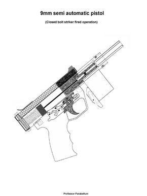 9mm semi automatic closed-bolt pistol (Professor Parabellum