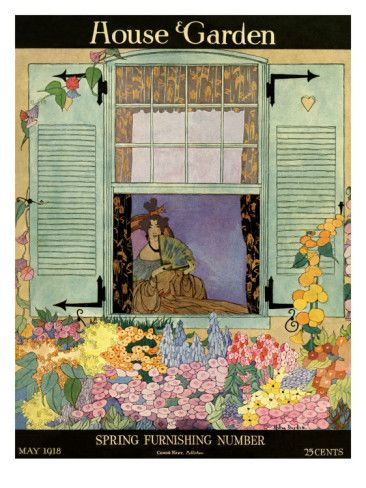 House & Garden Cover - May 1918    This exotic illustration by Helen Dryden graced the cover of the spring furnishing issue of House & Garden from May 1918. A woman in afternoon dress gazes out the window to the garden in full bloom.