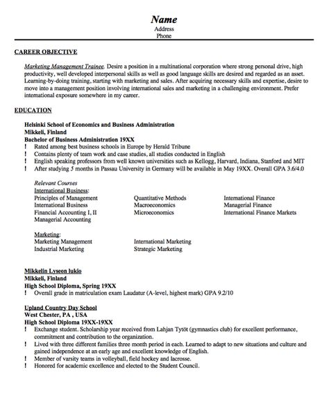 Sample Resume Marketing Management Trainee -    resumesdesign - sample resume for management position