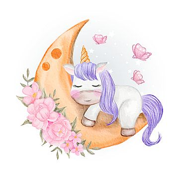 Baby Unicorns Sleeping On The Moon With Flower And Butterfly Magic Floral Design Png And Vector With Transparent Background For Free Download In 2020 Unicorn Illustration Baby Animal Drawings Unicorn Images