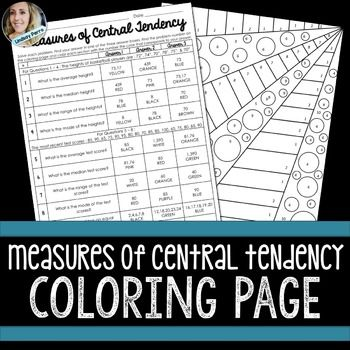 Measures Of Central Tendency Coloring Activity Central Tendency