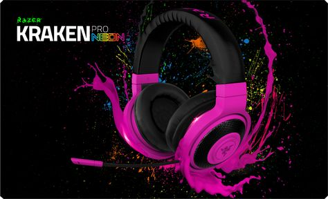 Razer Kraken Pro gaming headset, now available in red, yellow, blue, green, orange and, purple, focuses on providing comfort even during long hours of listening. --DO WANT!! I like the 'red' cuz it looks like neon hot pink!