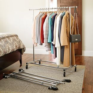 Chrome Metal Folding Commercial Clothes Rack Craft Studio For