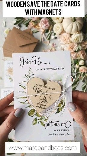 Save The Date Card With Geometric Greenery Heart With Personalised