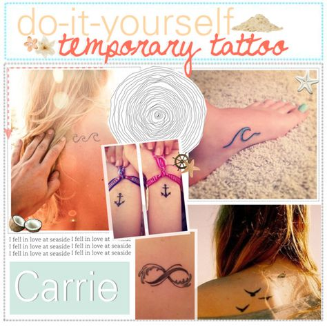 DIY Temporary Tattoo ♥ - Polyvore. Just draw on a tattoo with sharpie, rub baby powder on it, and then spray it with hairspray!