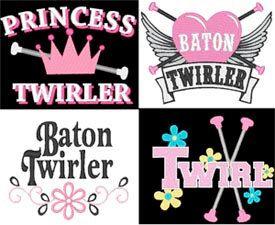 Baton Twirler Majorette maching band Twirling Logo Sayings Embroidery Machine Designs. $12.99, via Etsy.