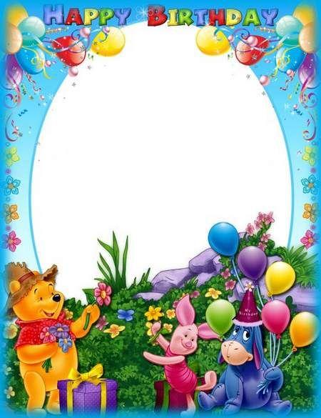 Birthday Photo Frame Psd Happy Birthday With Winnie The Pooh With