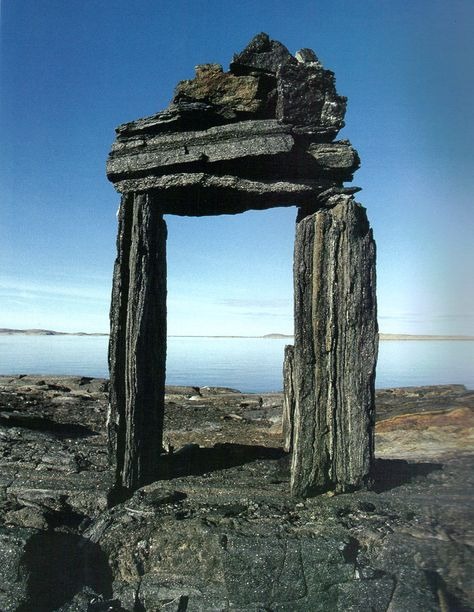 A niungvaliruluit (a window-shaped directional inuksuk) frames a place of great significance or provides a sightline to a distant place. Baffin Island. Norman Hallendy