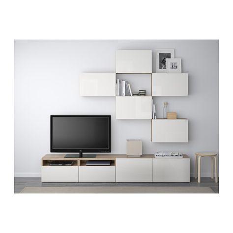 BESTÅ Combinaison meuble TV - motif noyer teinté gris/Selsviken brillant/blanc, glissière tiroir, ouv par pression - IKEA 550€ l'ensemble