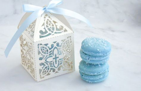 Elegant Baptism or Christening Favors. Laser Cut Cross Favor Boxes with delicious and trendy French Macarons in beautiful colors. Tres Chic!