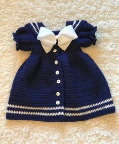 Elastic waist Baby Blue hand crochet Dress size 6-12 Months with matching Hat and Bloomers trimmed with matching flower