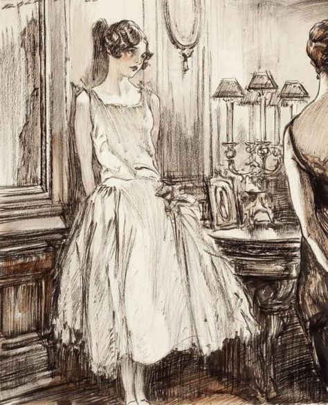 Illustration by Henry Patrick Raleigh. She looks so lonely and pretty at the same time. Gravure Illustration, Book Illustration, Harlem Renaissance, Art Du Croquis, Drawn Art, Art Deco, Art Vintage, 1920s Art, Sketch Art