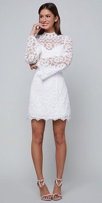 White Long Sleeve Mini Dresses Fabulous Looks That Inspire White Short Dress White Long Sleeve Mini Dress Long Sleeve Lace Mini Dress