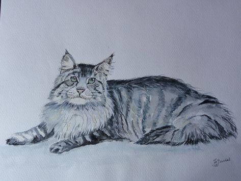 Katze Mit Aquarell Gemalt Aquarell Malen Malen Aquarell