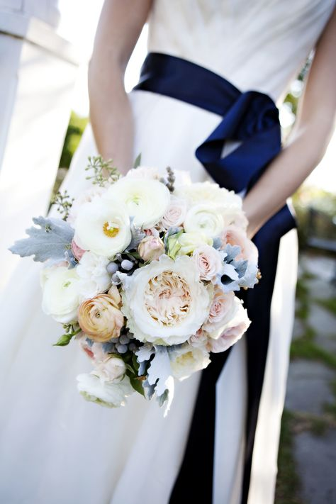 Blue and White Wedding Ideas - This wedding bouquet + the navy sash look so beautiful together! See more here: http://www.StyleMePretty.com/2014/05/28/intimate-coastal-wedding-in-rhode-island/  #SMP = Floral Design: GreenLionWeddings.com - Photography: AdelineAndGrace.com