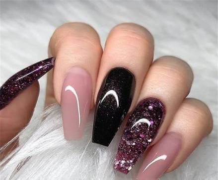 20 Ideas For Nails Coffin Acrylic Black Ombre Coffin Nails Designs Coffin Nails Glitter Nail Art Wedding