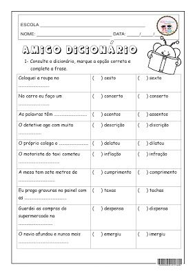 Amigo Dicionario Com Imagens Atividades De Gramatica