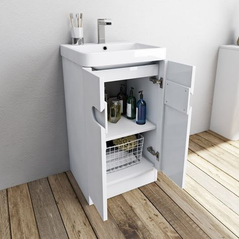 Mode Ellis White Cloakroom Floorstanding Vanity Unit And Basin