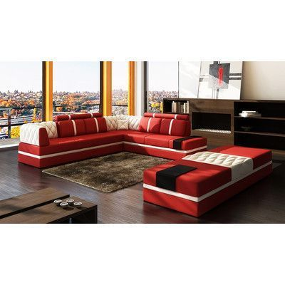 Hokku Designs Magdalena Sectional Upholstery Red White