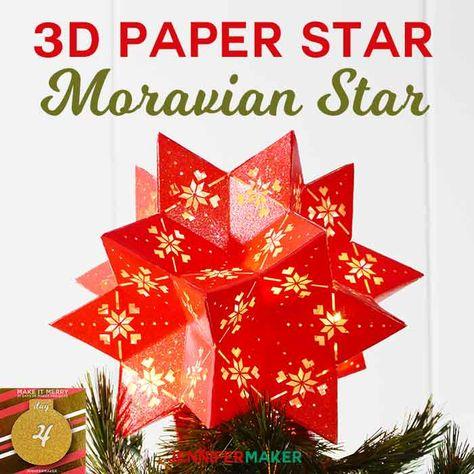 Diy 3d Paper Star Moravian 20 Point Tree Topper Moravian