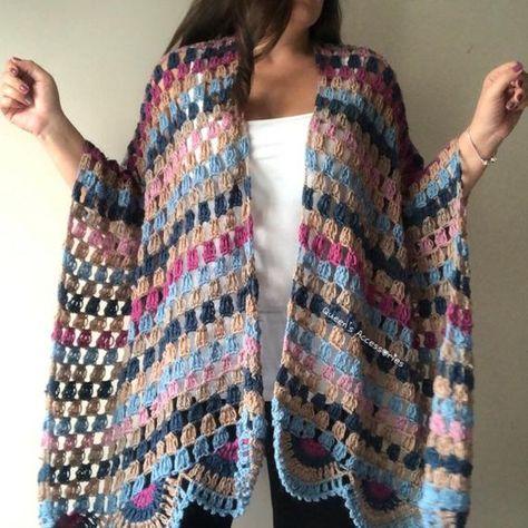 NEW Crochet Flower Granny Square Shawl Poncho Pink Blue | Etsy