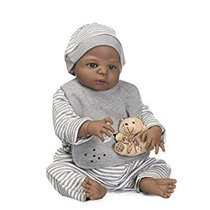 """10/"""" African American Boy Doll Full Vinyl Silicone Anatomically Correct Baby Doll"""