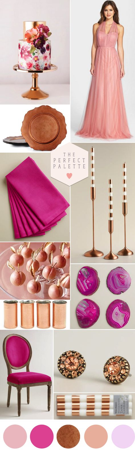 Radiant Orchid, Copper & Blush
