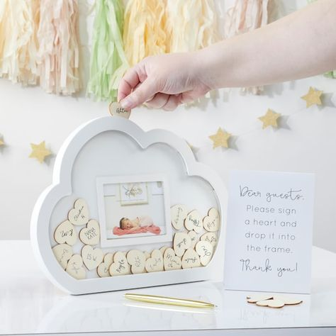 Cloud Baby Shower Theme, Unique Baby Shower Themes, Baby Girl Shower Themes, Girl Baby Shower Decorations, Baby Shower Signs, Baby Shower Fun, Baby Shower Gender Reveal, Baby Shower Centerpieces, Baby Shower Guestbook