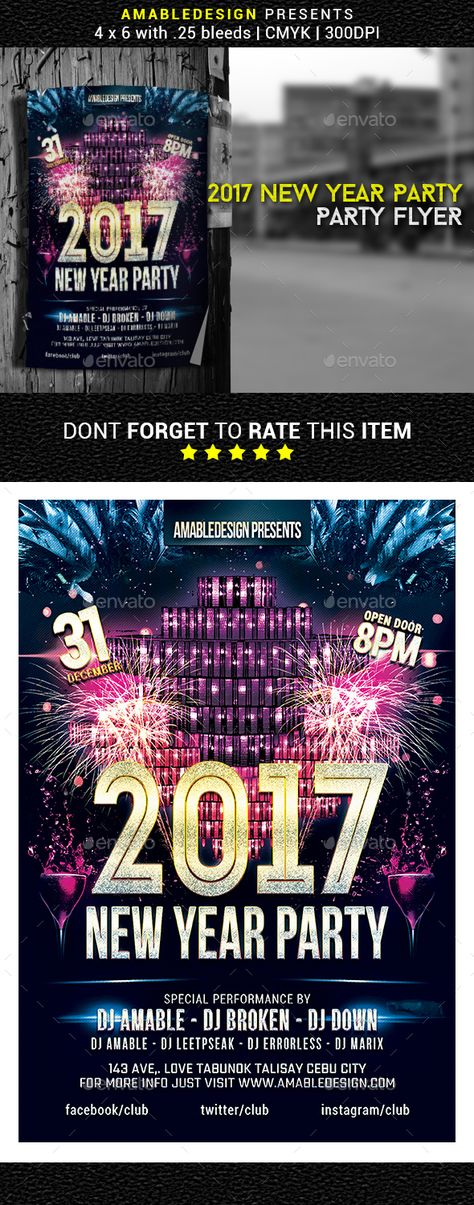 2017 New Year Party Flyer Poster Party flyer, Print fonts and - new year poster template