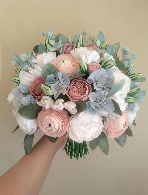 dusty rose wedding This beautiful bridal bouquet is made of air dry clay, it looks very realistic and has very light in weight. Dusty Rose Wedding, Rose Wedding Bouquet, Wedding Flowers, Bouquet Bleu, Peonies Bouquet, Flower Bouquets, Purple Bouquets, Tulip Bouquet, Bridal Bouquets