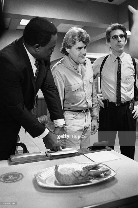 Yaphet Kotto, Jay Leno, Richard Belzer on the set of Homicide: Life on the Street in October 1995 -- Get premium, high resolution news photos at Getty Images