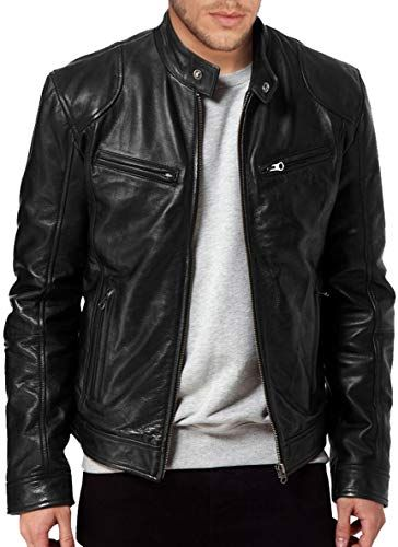 New Fashion Style Men Leather Jackets Motorcycle Bomber Biker Black Real Leather