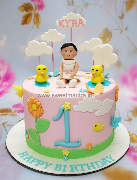 Ducks And Clouds Theme Customized Fondant Cake With 3d Girl Figurine For Girl S 1st Birthday At Pune