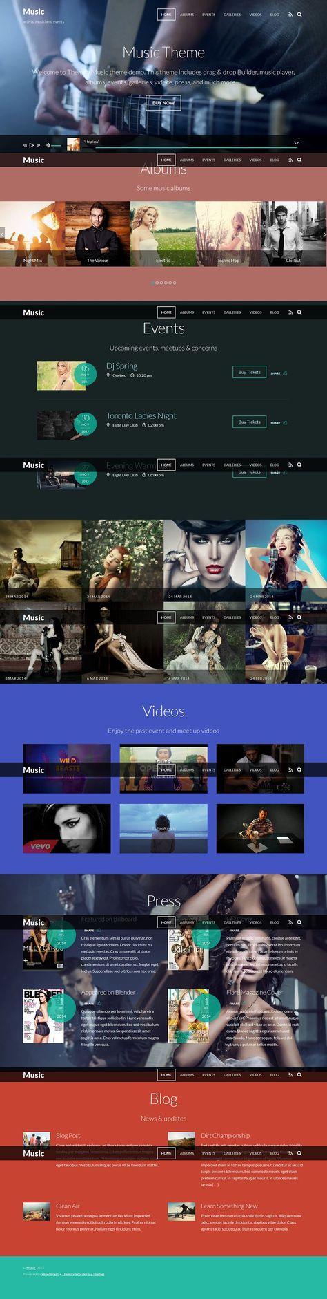Music Responsive WordPress Theme for Artists, Events