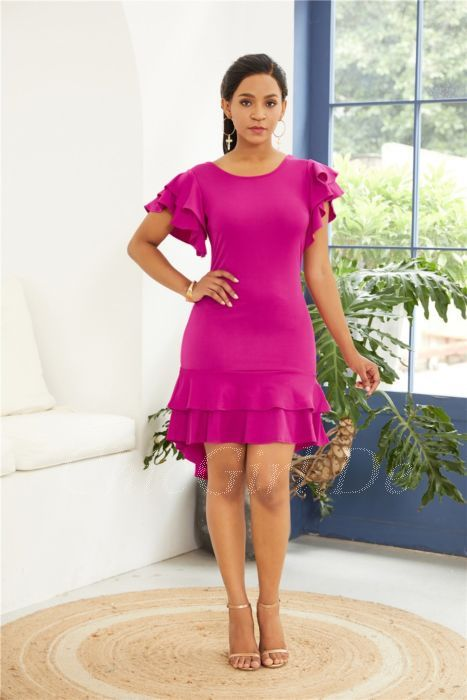 Vokuhila Wickelkleid Etuikleid Cocktail Kleid Pink Kurz Mit