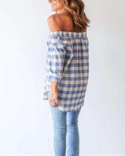 24df6cc2ececcc Blue and white plaid shirt long sleeve off the shoulder tops for women