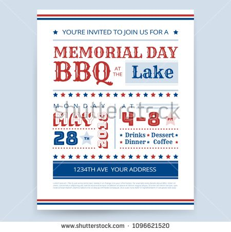 Memorial Day Barbeque BBQ flyer invitation design template vector ...