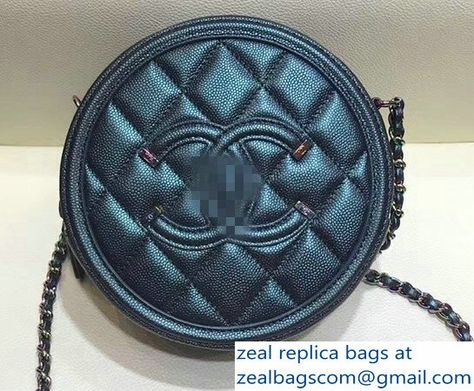 d4d73ea02b55c6 Chanel CC Filigree Grained Round Clutch with Chain Bag A81599 Dark  Turquoise 2018