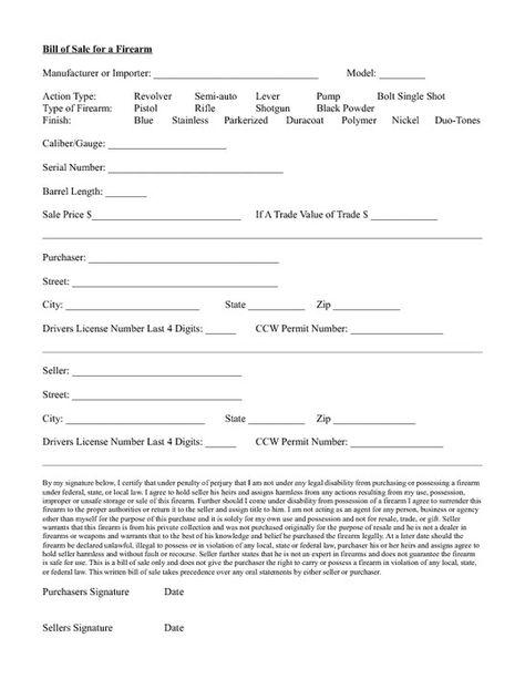 Standard Bill of Sale Form Purchasing a firearm via private - firearm bill of sales