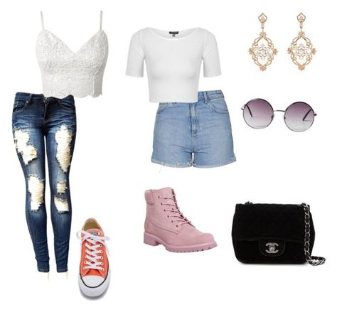 """Untitled #52"" by cariwhitman on Polyvore featuring Timberland, Converse, Topshop, Sara Weinstock, Chanel and Monki"